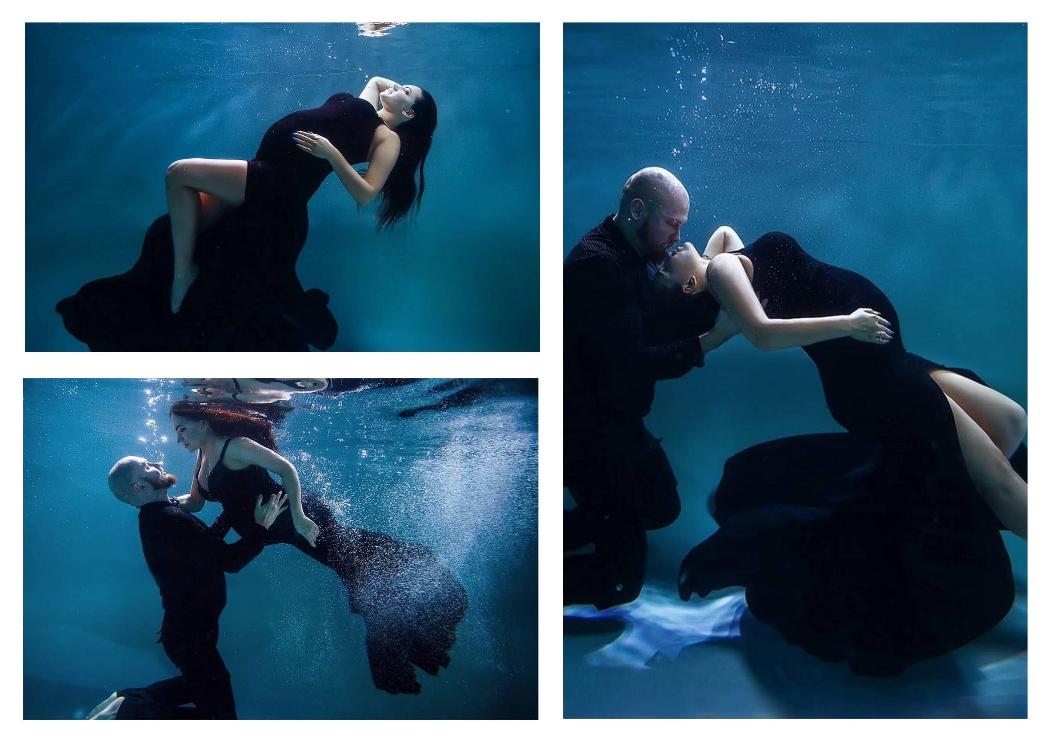 Вариант коллажа беременной с подводными фото